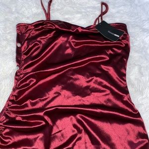 Red Ruched Mini Dress
